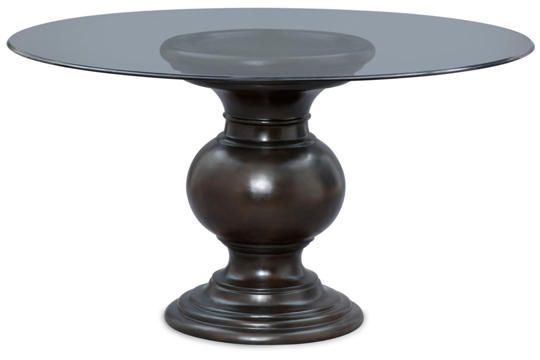 This Beautiful Glass Top Table Has A Bevel Edge And Sits On A High, Urn  Style Pedestal Base In A Rich Multi Step Mahogany Finish. The Table  Features Durable ...