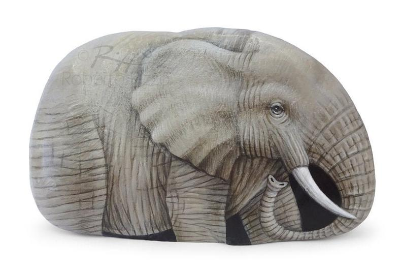 I'm Very Proud of this New Piece Just Finished. It's Probably My Best Rock Painted Elephant, Realized on a Perfect Shaped Stone, one of my Favourites Artworks,  An Unrepeatable Piece and a great Gift Idea for all of you, Nature Lovers! #art #fineart #robertorizzo #paintedrocks #paintedstones #rockart #paintedpebbles