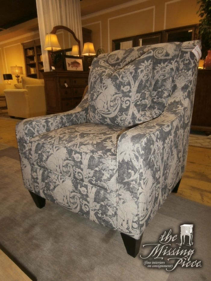 Kevin Charles sloped arm accent chair in blue and beige This
