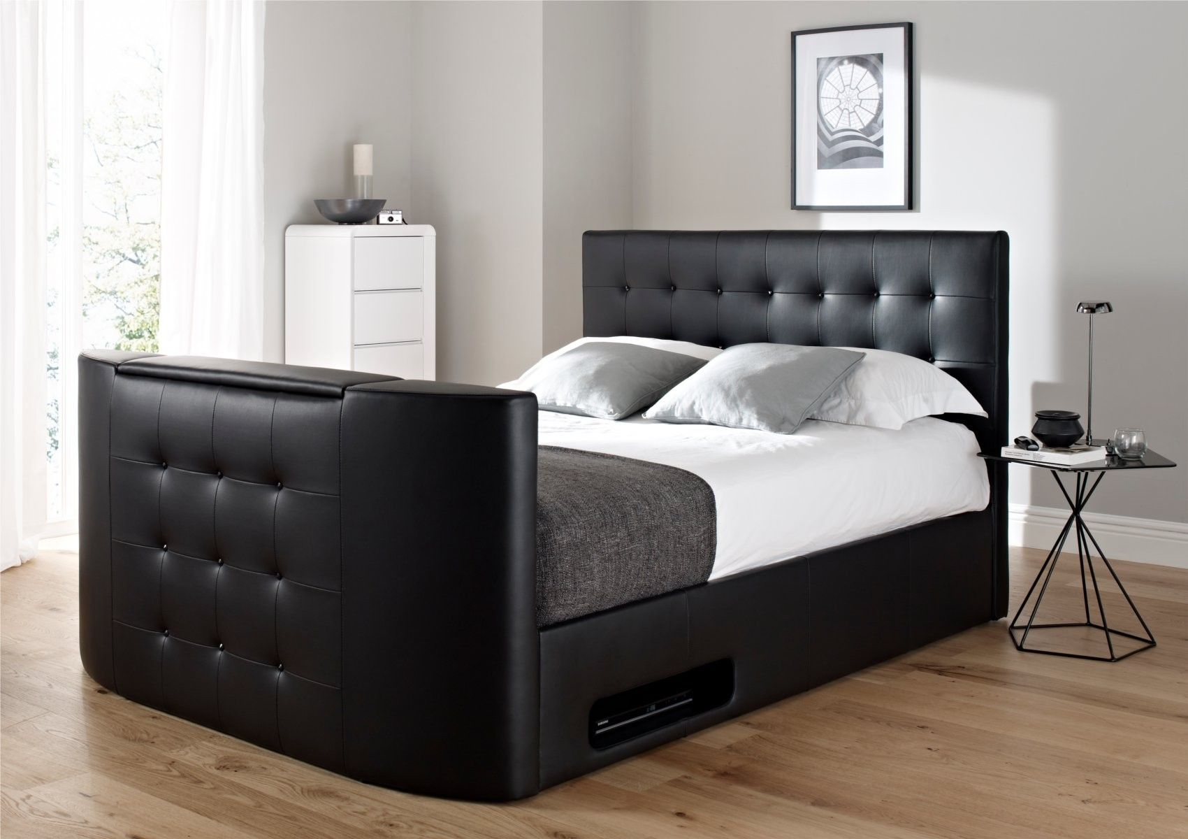 Superb Atlantis Leather Ottoman Tv Bed Black For In The Home Machost Co Dining Chair Design Ideas Machostcouk