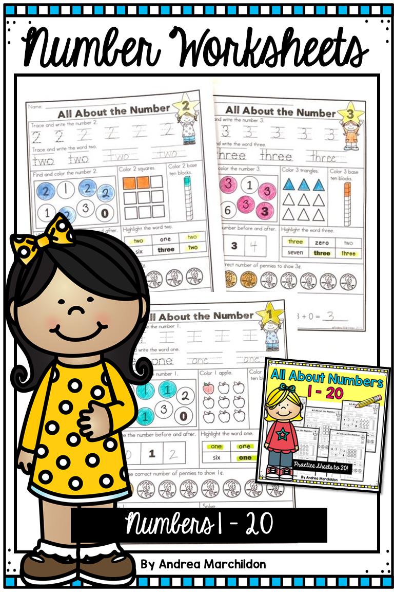 Number Worksheets 1 20 Number Worksheets 1st Grade Math First Grade Activities