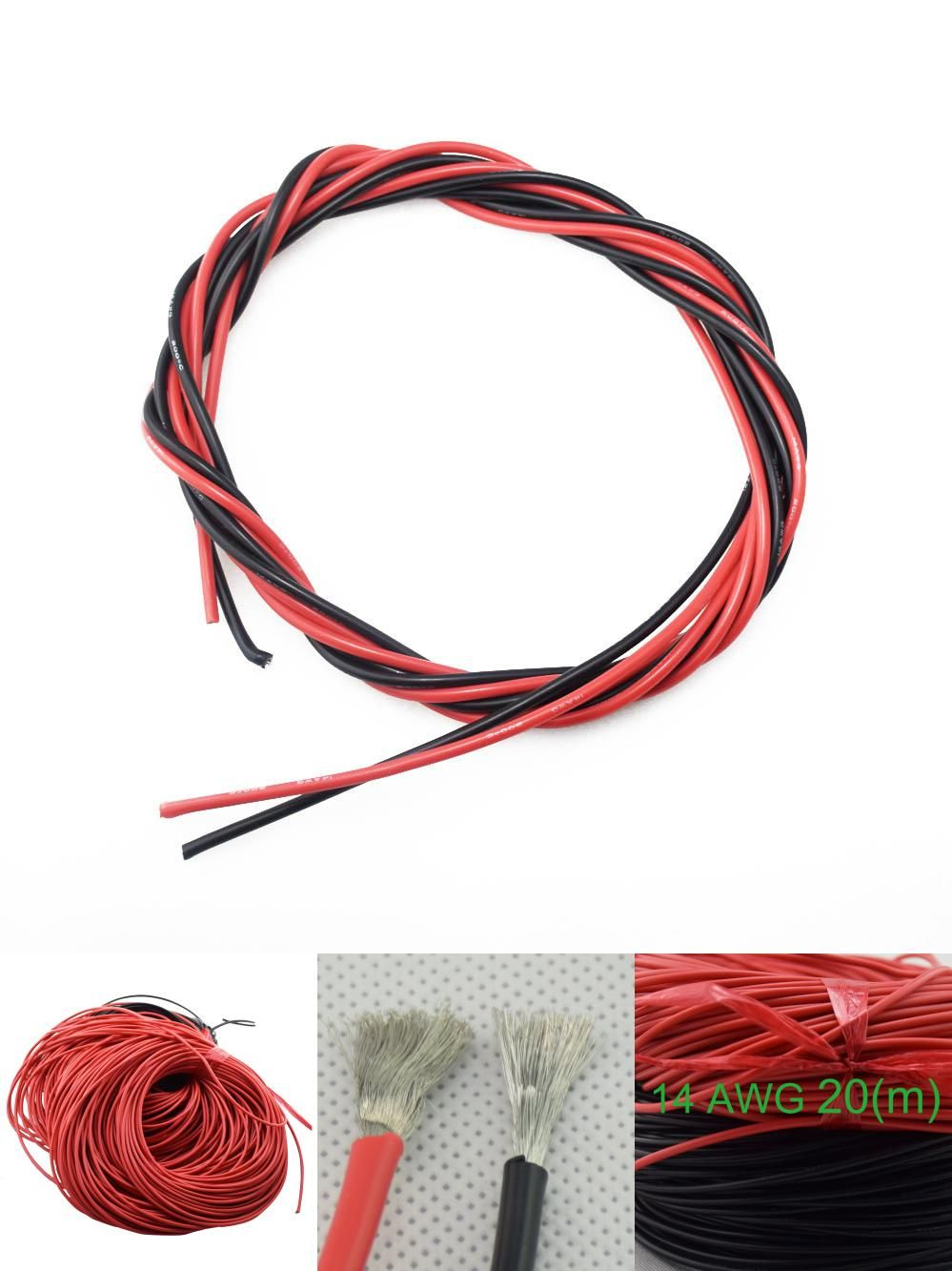 Visit to Buy] 14 AWG 67 Feet 20m Gauge Silicone Wire Flexible ...