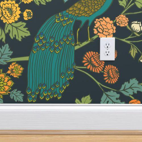 Colorful Fabrics Digitally Printed By Spoonflower Peacock Garden Midnight Wonderland Peel And Stick Wallpaper Wallpaper Wallpaper Panels