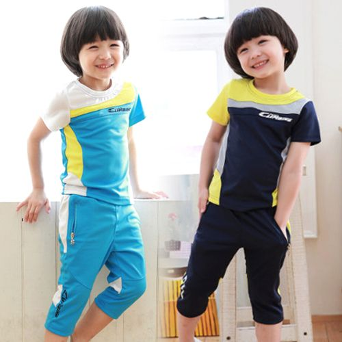 98f06d3ce New Style Boys Summer Sports Suit Baby Kids Colors Patchwork Short Sleeve  Capris Set,High Quality suit button,China suit Suppliers, Cheap baby ariel  from ...