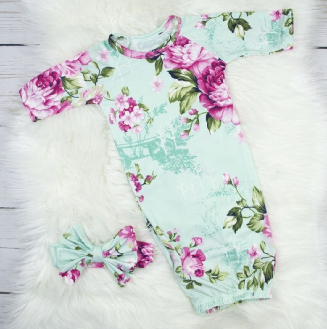 Breastfeeding Nightgown Night Gown and Baby Gown Set -Nursing Gown and Baby Outfit 3 PC Set Mom and Baby Hospital Outfit
