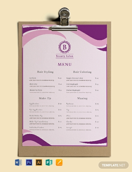 Free Sample Example Format Download Free Premium Templates Menu Template Spa Menu Salon Menu