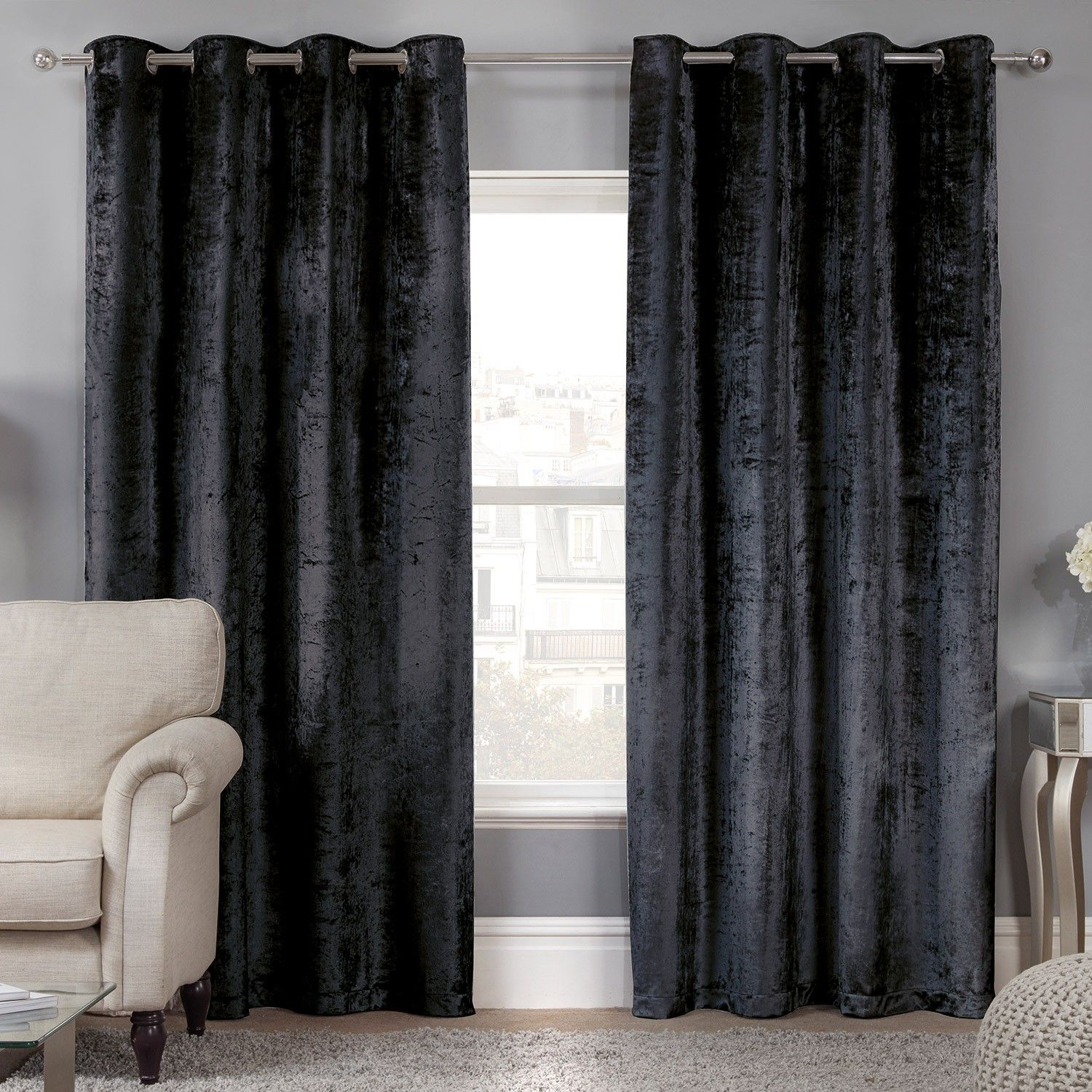 Best Elegance Allure Black Crushed Velvet Luxury Eyelet 640 x 480