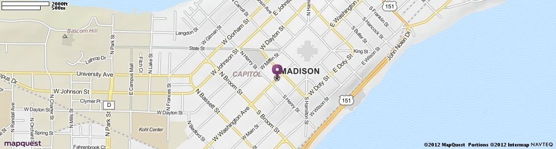 Madison, WI Map | MapQuest Get Directions, Map, Madison, Capitols, West
