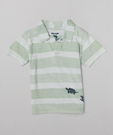 Look what I found on #zulily! Green & Gray Stripe Turtle Polo - Infant & Toddler #zulilyfinds