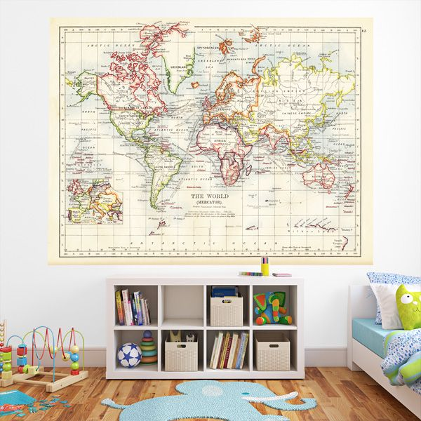 Create a stunning feature wall in your kids room with our vintage create a stunning feature wall in your kids room with our vintage map wallpaper self gumiabroncs Image collections