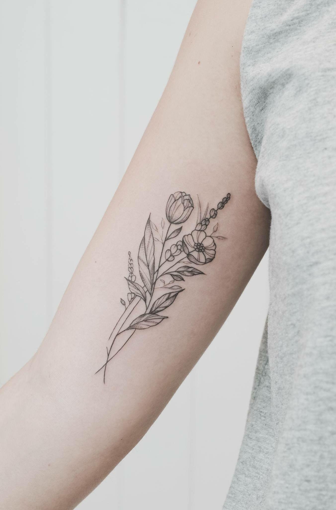 6b4ca341ae34a Fine line bouquet tattoos My wedding bouquet on my upper arm ...