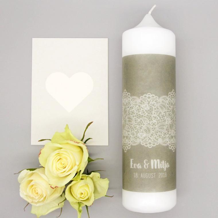 Hochzeitskerze Royal Spitze Und Kraftpapier Hochzeitskerze