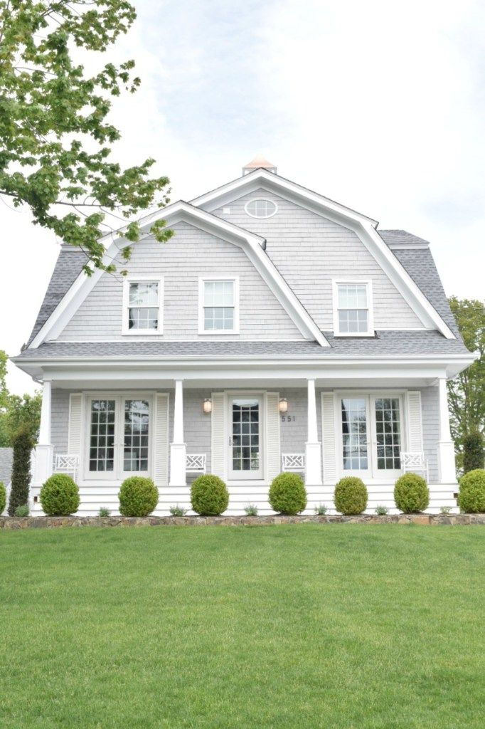 This gorgeous new england home features varying shades of gray and white for  chic exterior look view other ideas also homes paint color colors rh pinterest