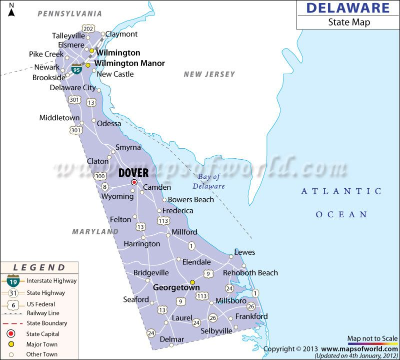 State Map of Delaware | US states | Map of delaware, Map, Delaware on