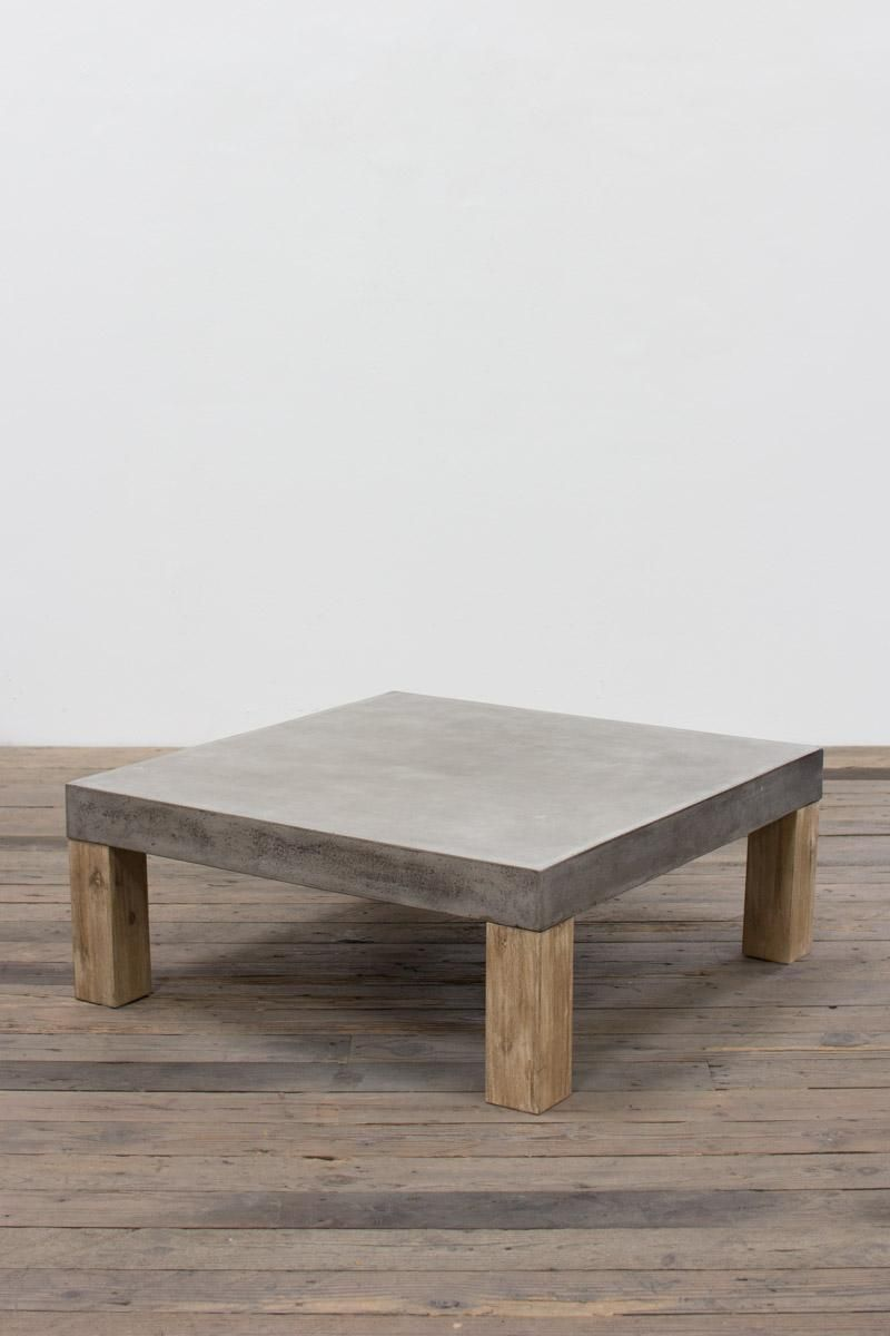 Square Concrete Coffee Table With Wooden Legs Concrete