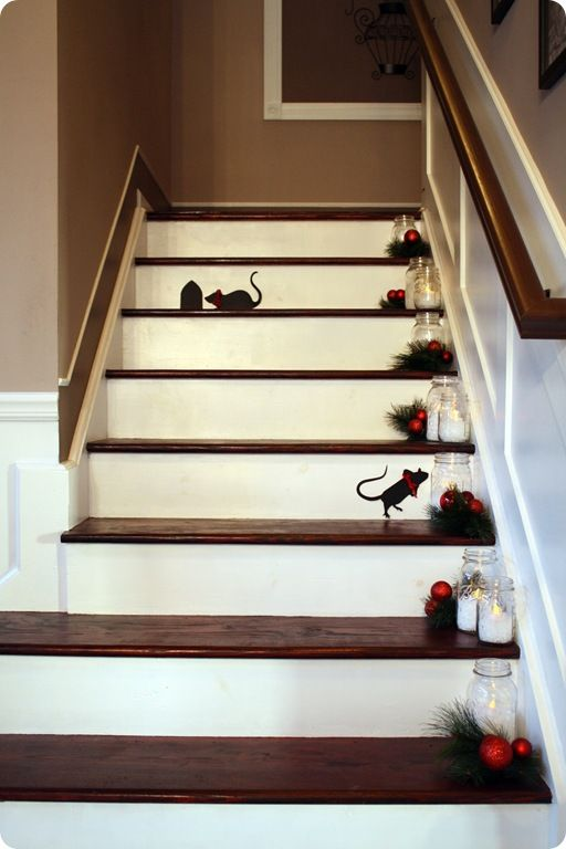 How-to for stairs - mice and jars with snow and candle.