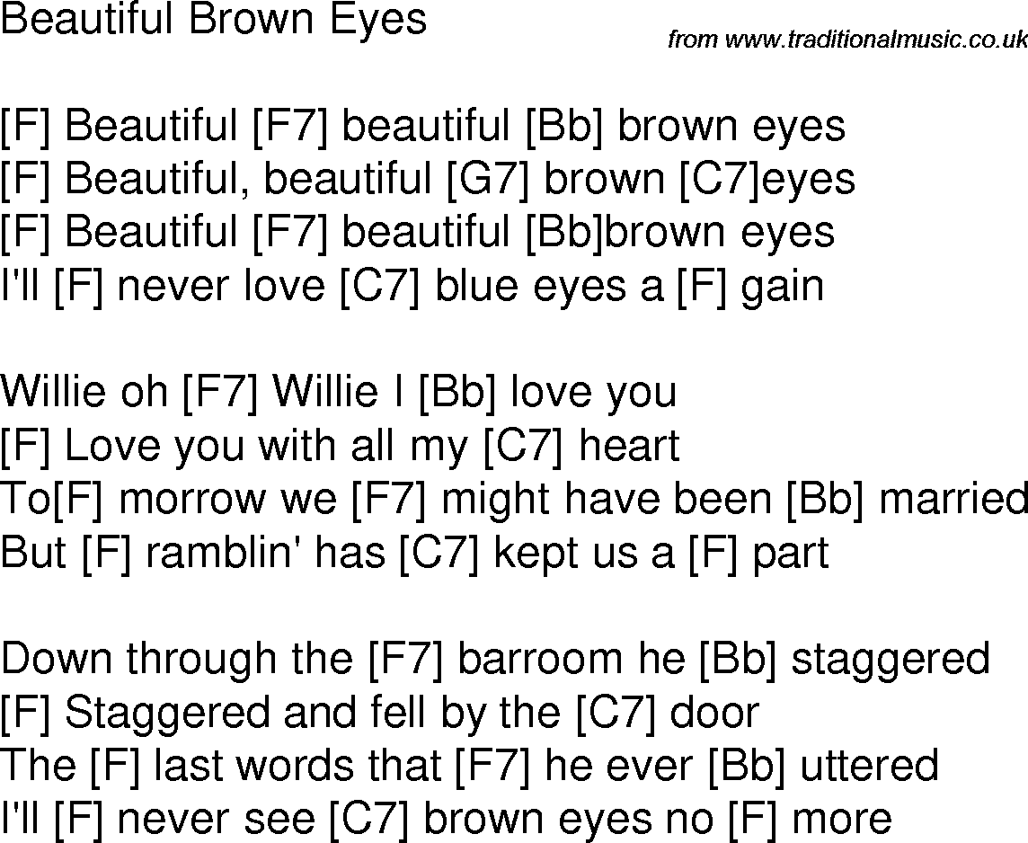 Old Time Song Lyrics With Chords For Beautiful Brown Eyes F Music