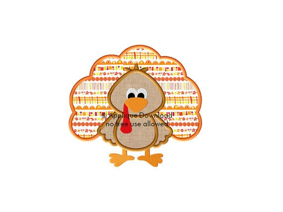 Thanksgiving Turkey Applique Design  Instant by AppliqueDownload