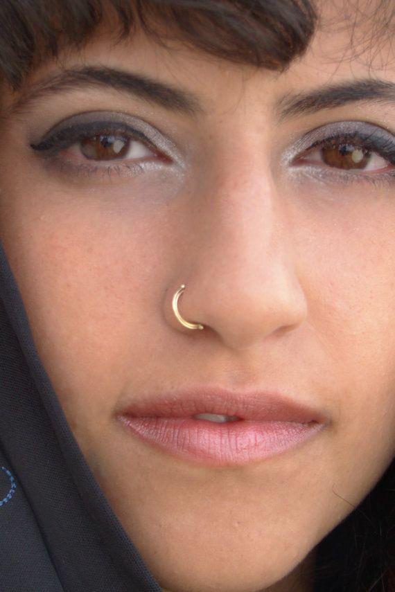 Indian nose ring gold nose hoop nose ring by ShirazelohevJewelry
