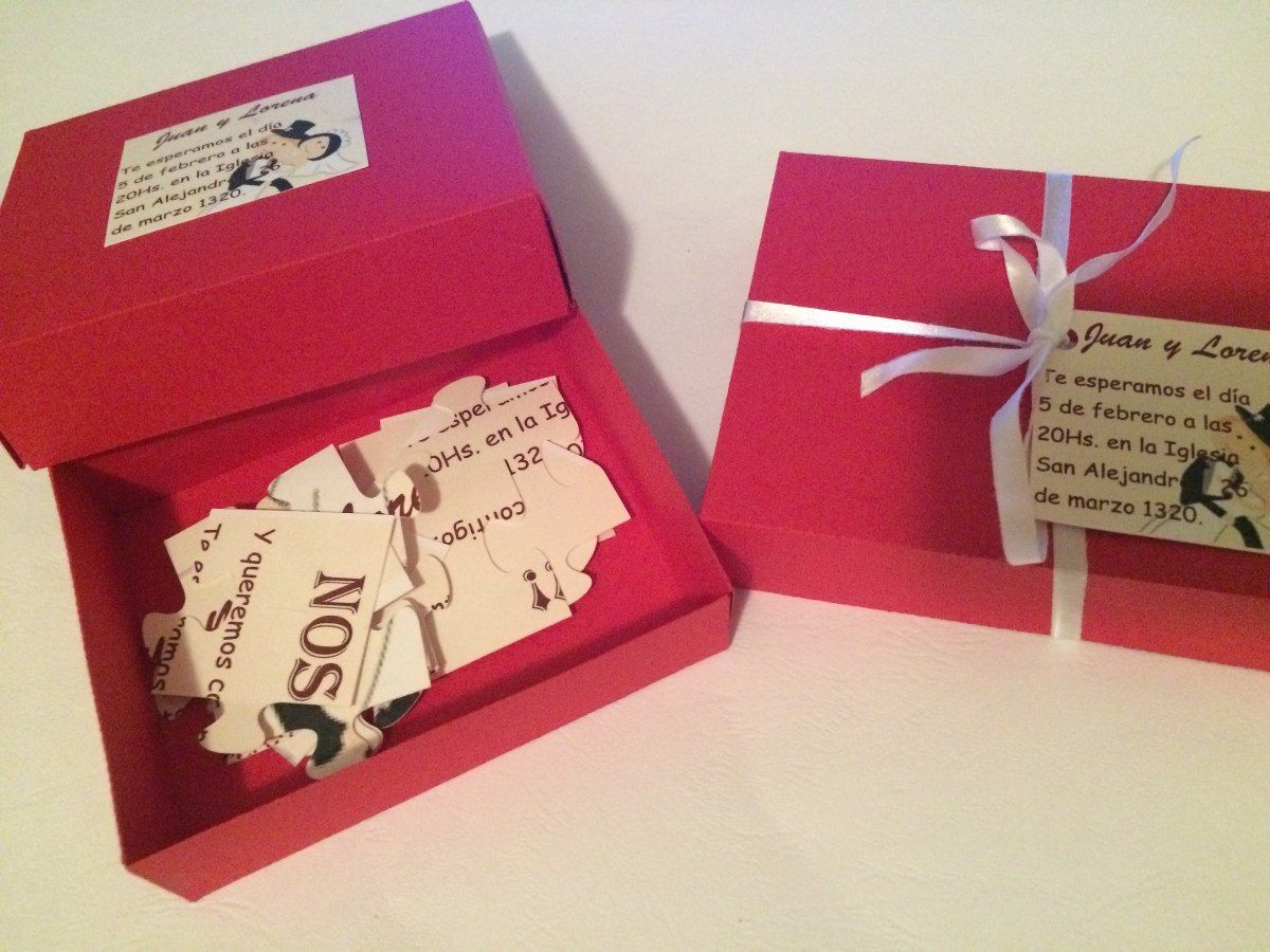 Invitaci n boda 15 a os puzzle rompecabezas en caja cargando zoom invitaciones creativas - Caja rompecabezas ...