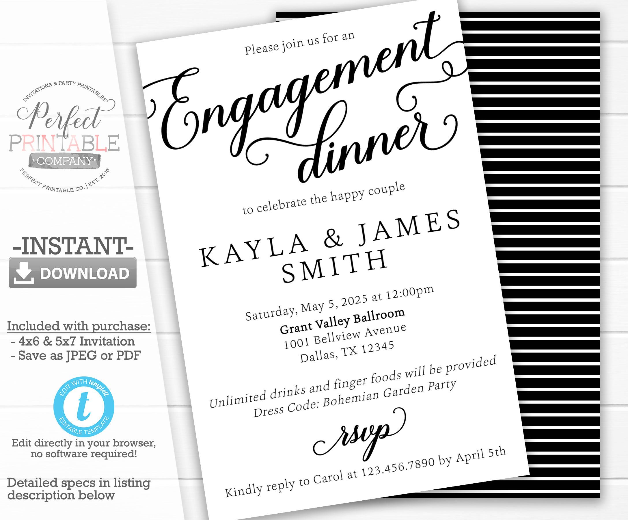Engagement Dinner Invitation Engagement Party Invite Engagement A Engagement Announcement Cards Engagement Party Invitations Bachelorette Weekend Invitations