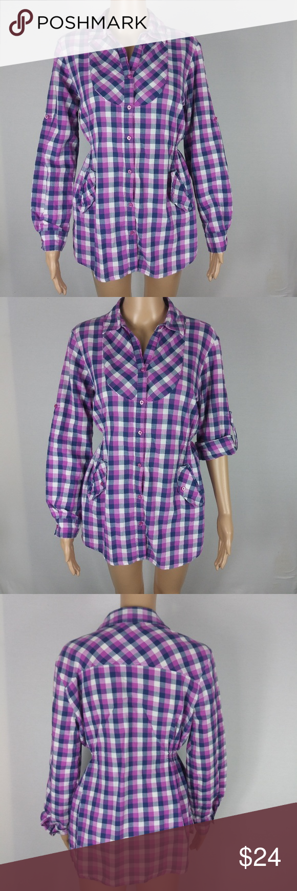 4ac6809648c1c OP Purple Blue Plaid Long Sleeve Button Down Lightweight cotton plaid shirt  with beautiful purple and