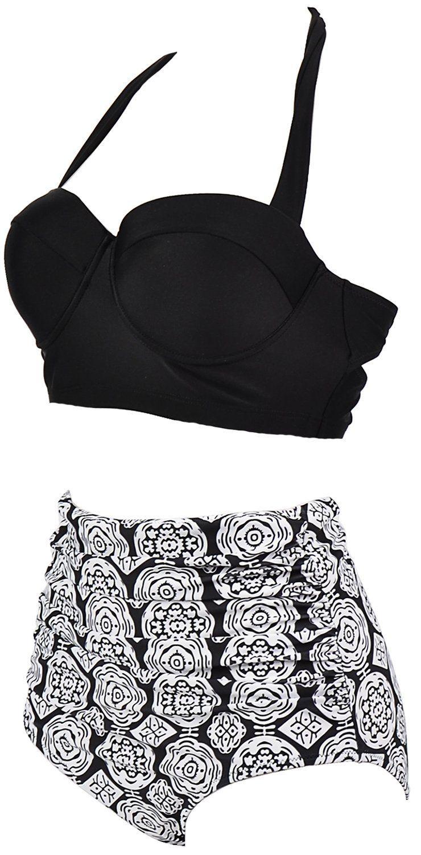 e1e5e269e3c Amazon.com: Amourri Womens Retro Vintage Polka Underwire High Waisted  Swimsuit Bathing Suits Bikini: Clothing