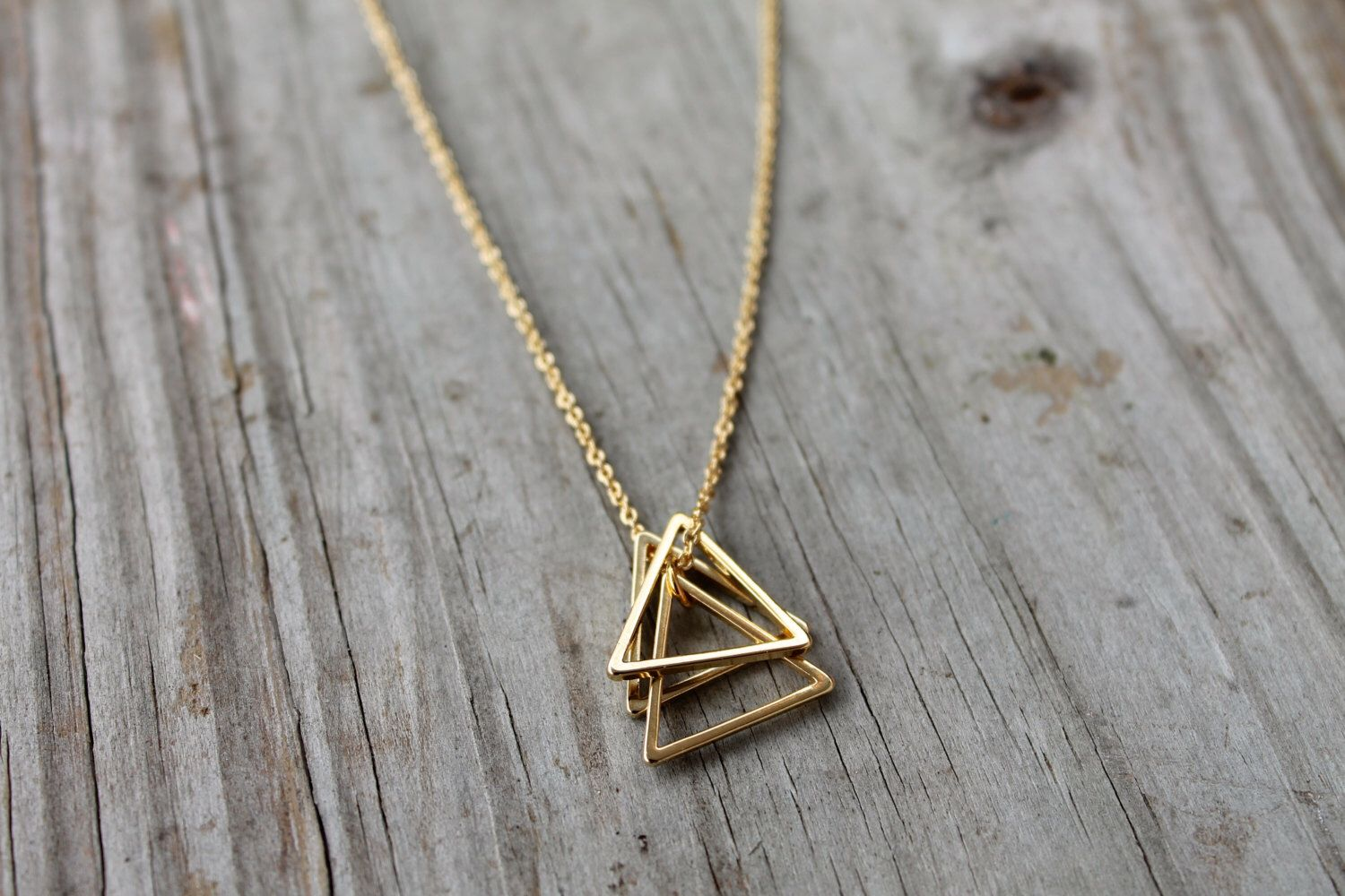 Gold Triangle Stack Necklace 14k Gold Filled Triangle Etsy In 2020 Pendant Necklace Simple Geometric Pendant Necklace Stacked Necklaces
