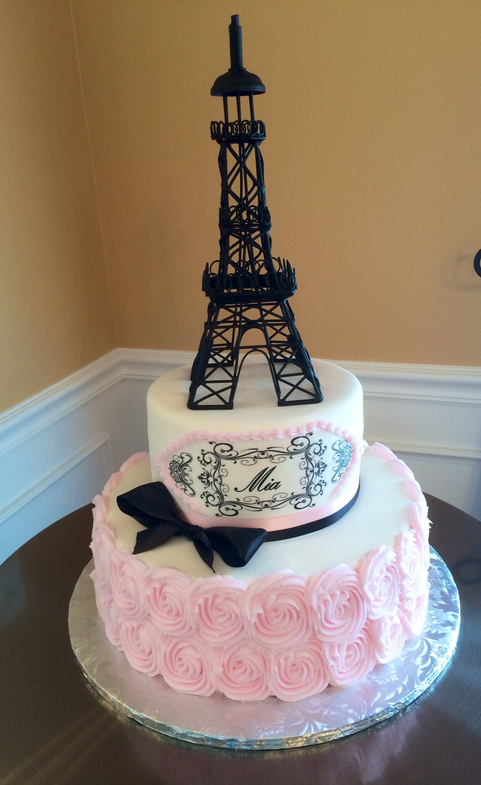 Sweet 16 Paris theme cake by Icing on the Cake Cakes