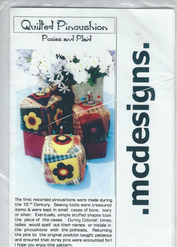 Posies And Plaid Quilted Pincushion Pattern By Mc By Roostercreek