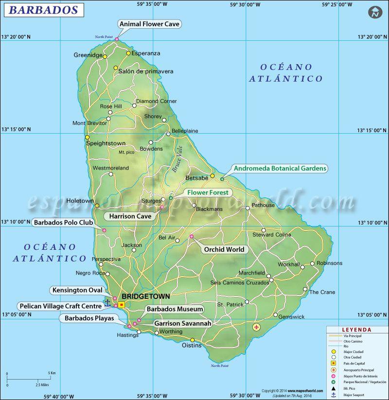 Barbados Mapa Barbados and Norte
