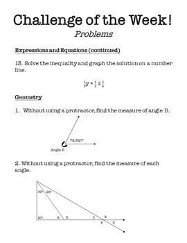 Challenge of the Week - 6th Grade Math | sayed | Pinterest | Math ...