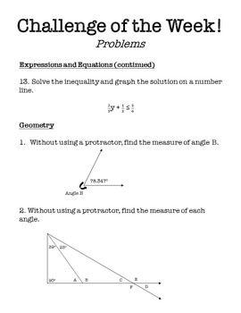 Challenge of the Week - 6th Grade Math | School | Math