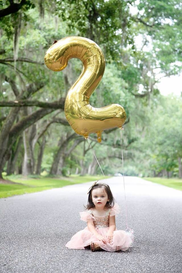 Two year old photos. Toddler girl photos. Michelle Marie Photography. Charleston South Carolina. Mepkin Abbey. Gold sparkle dress. Number balloon photo.: