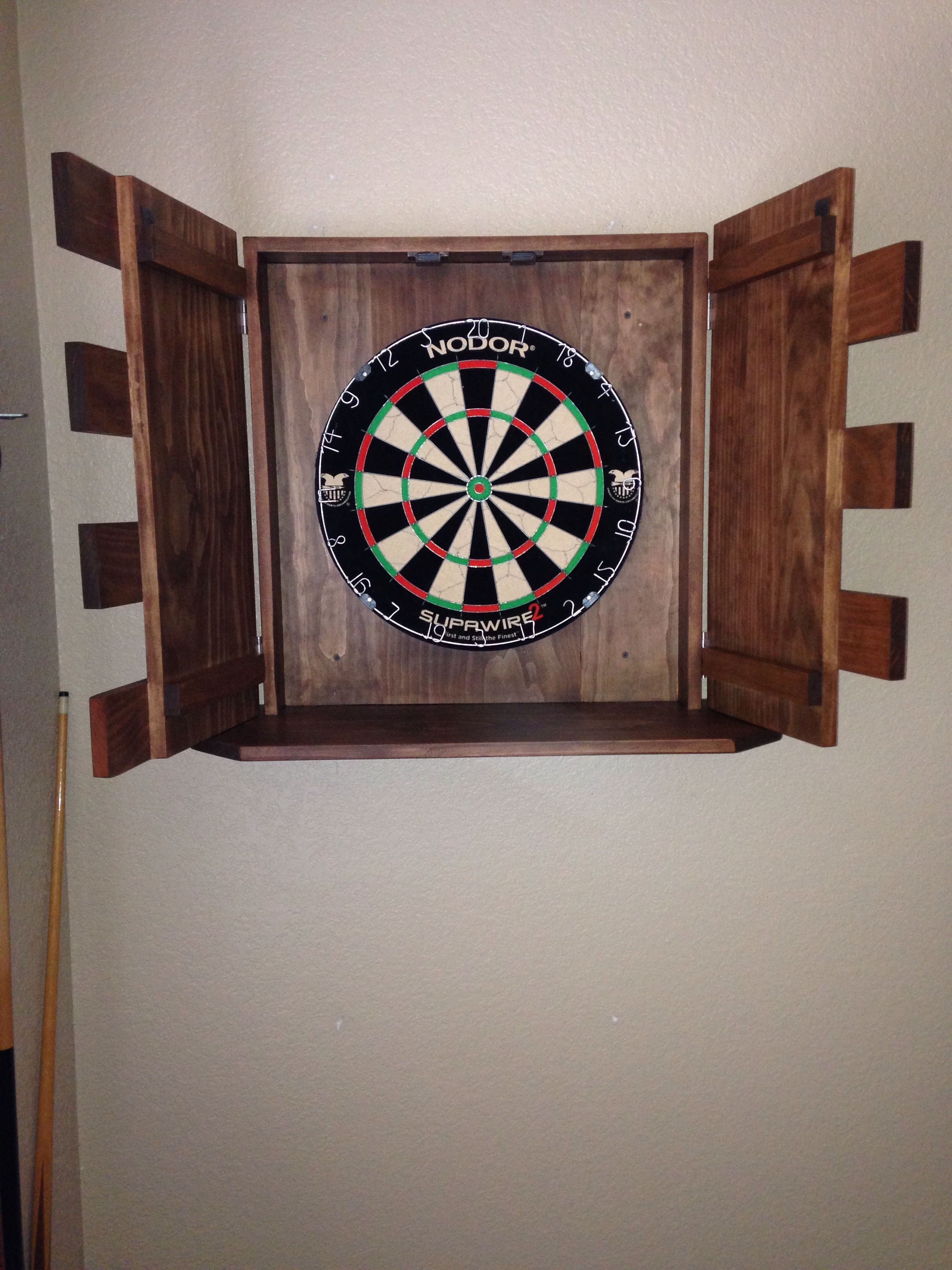 finished dart board cabinet
