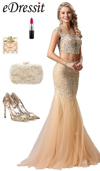 Two-Pieces Fully Beaded Prom Gown Evening Dress | Formal Dresses ...