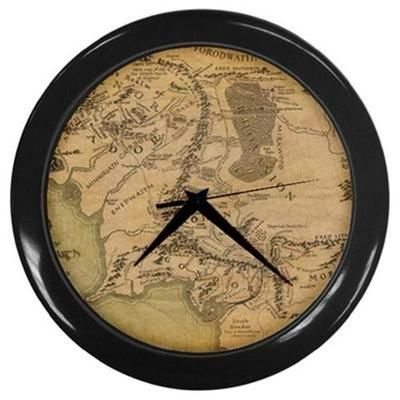 LOTR Lord of the Rings Map of Middle Earth Wall Clock with Black