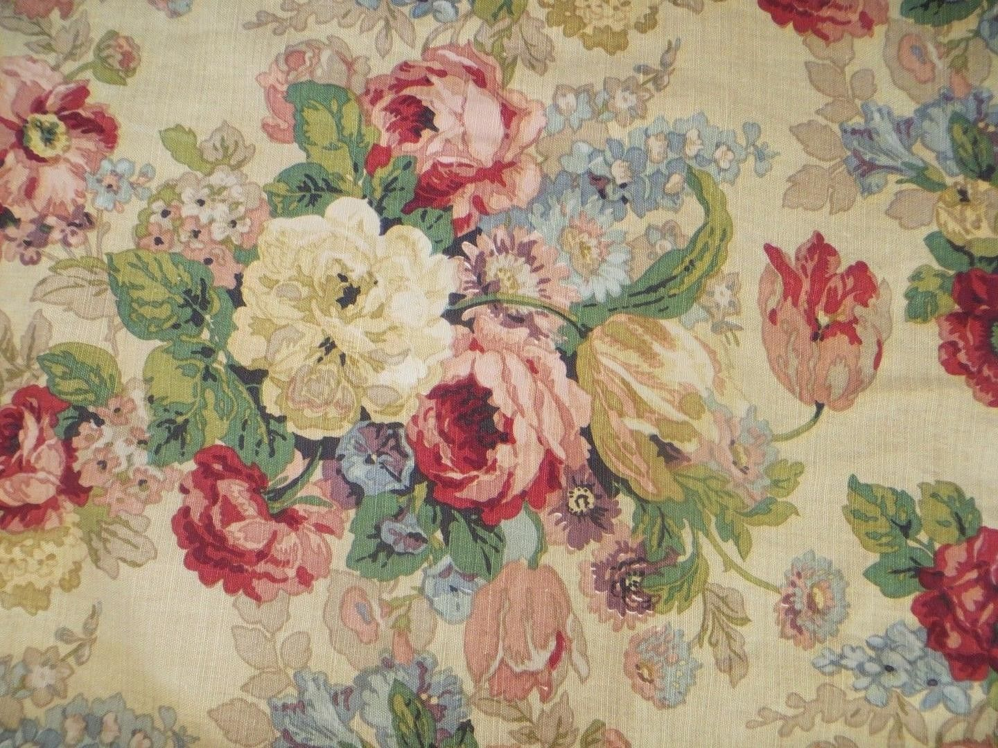 Vintage 1940 S Floral Barkcloth Fabric Cabbage Rose 1885674187 Floral Upholstery Fabric Vintage Floral Wallpapers Vintage Floral Fabric