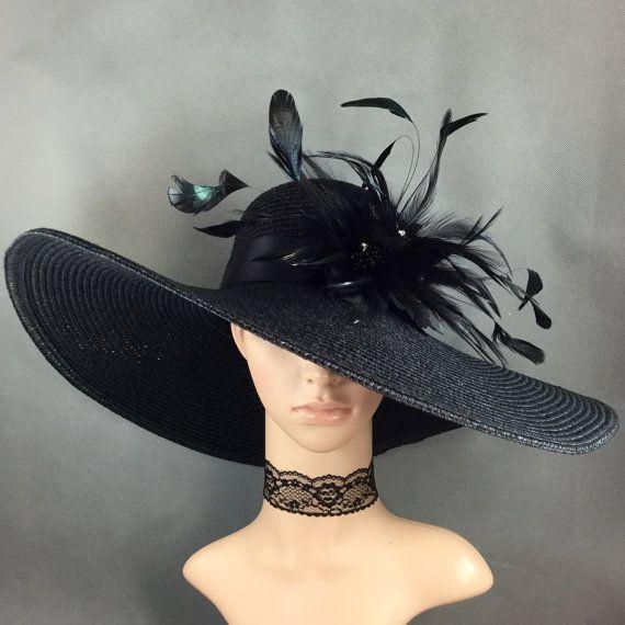 5b1b65439 Black Kentucky Derby Hat with Black feathers, Derby Hat, Church Hat ...