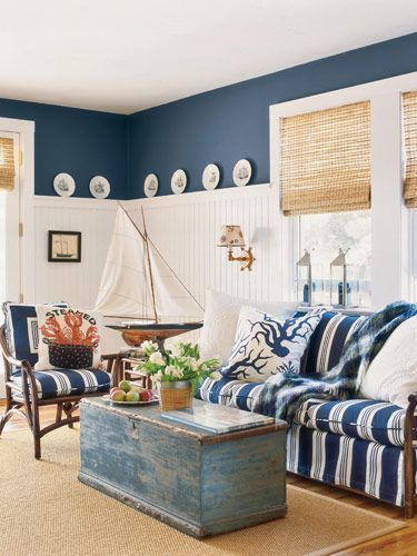 Superb Navy Blue And White Living Room With Beadboard Wainscoting, Bamboo Shades U0026  Sisal Rul