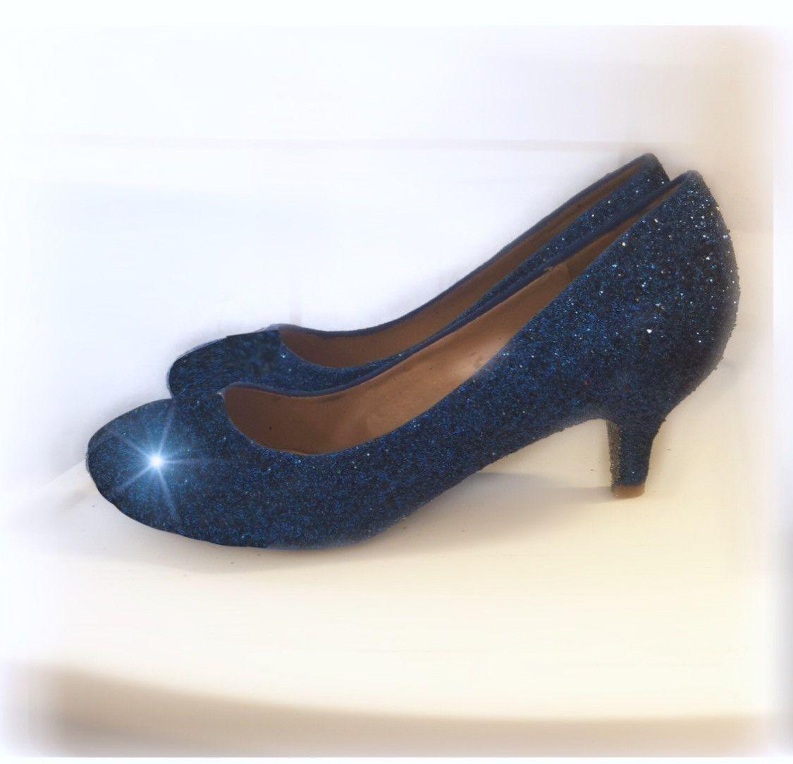 Women S Sparkly Navy Blue Glitter Pumps Kitten Heels Shoes Wedding Bride Prom Sweet 16 Kitten Heel Shoes Wedding Shoes Low Heel Blue Wedding Shoes Low Heel