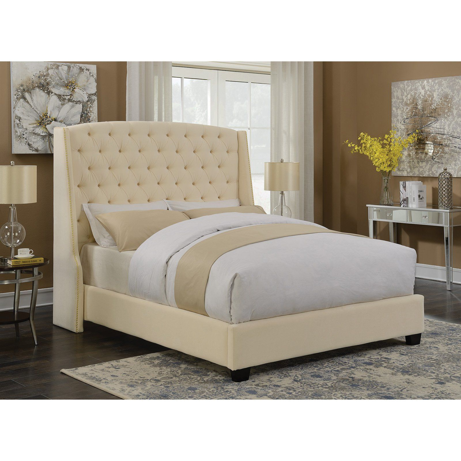 a2c31a9c6 Coaster Furniture Pissarro Upholstered Panel Bed Cream, Size: California  King