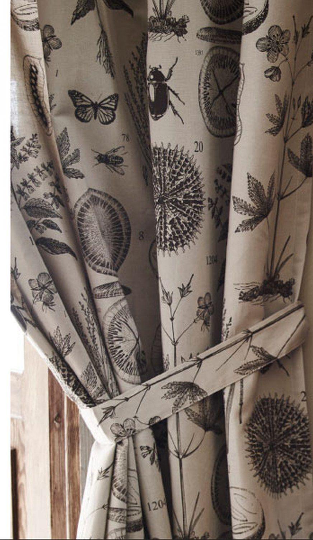 Ikea Bla Vinge Curtains With Tie Backs Beige Brown Botanical 98