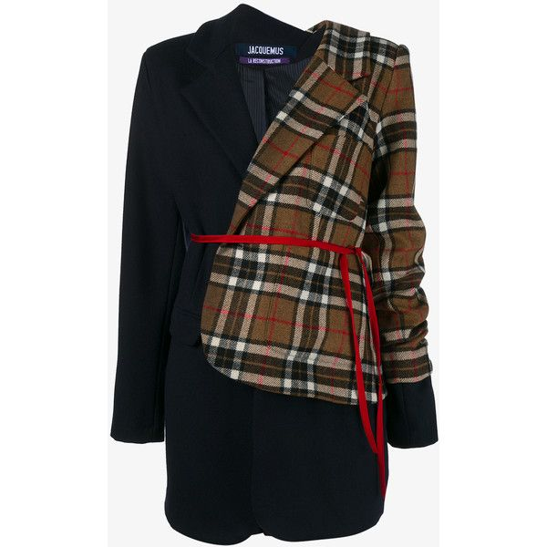 Jacquemus Striped Wool Jacket With Asymmetric Check Layer (€695) ❤ liked on Polyvore featuring outerwear, jackets, coats, asymmetrical wool jacket, checkered jacket, stripe jacket, wool jacket and woolen jacket