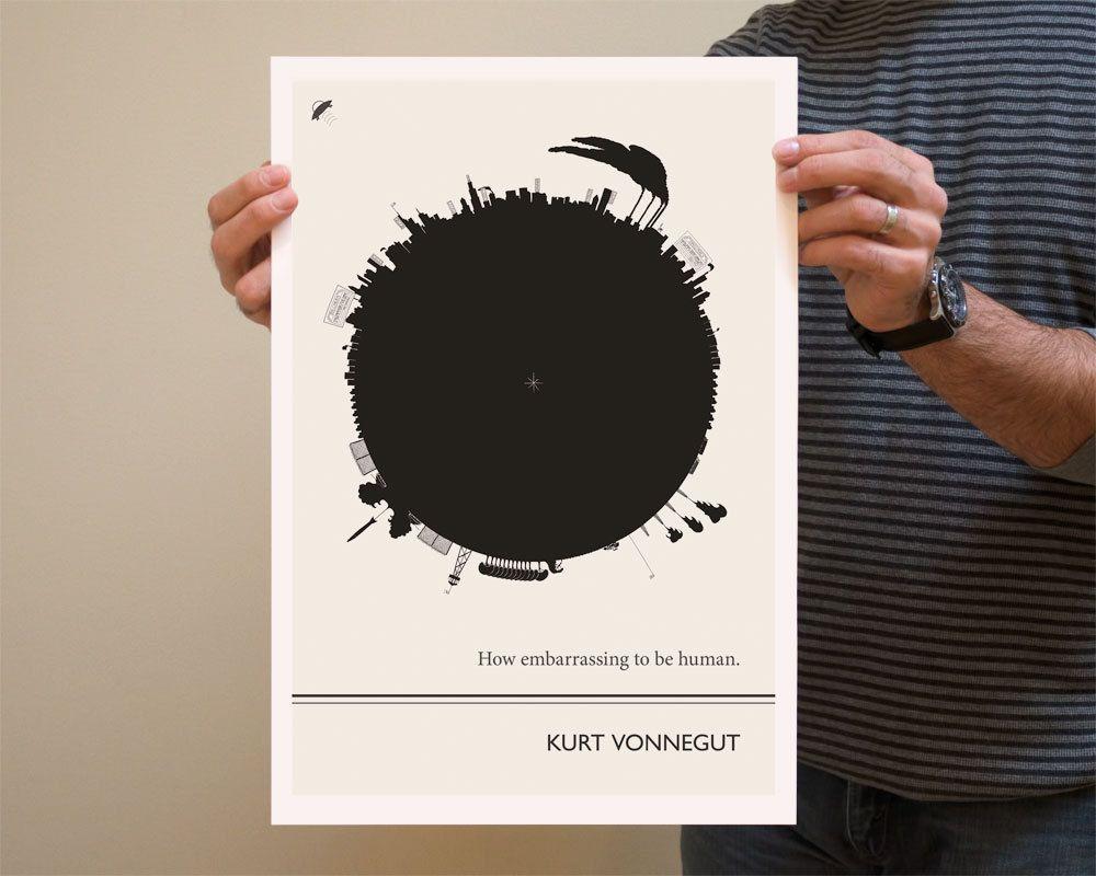 Kurt Vonnegut Literary Print Large Wall Art