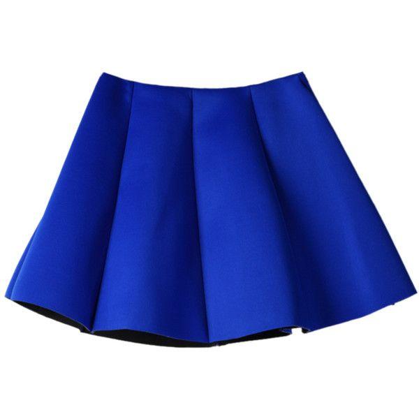 Choies Blue Pleated Skirt Mini Skater Skirt (185 ARS) ❤ liked on Polyvore featuring skirts, mini skirts, bottoms, saias, blue, blue mini skirt, blue pleated skirt, circle skirt, blue circle skirt and flared skirt