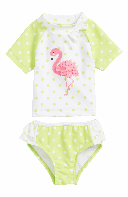 Little Me Flamingo Two Piece Rashguard Swimsuit Baby Girls