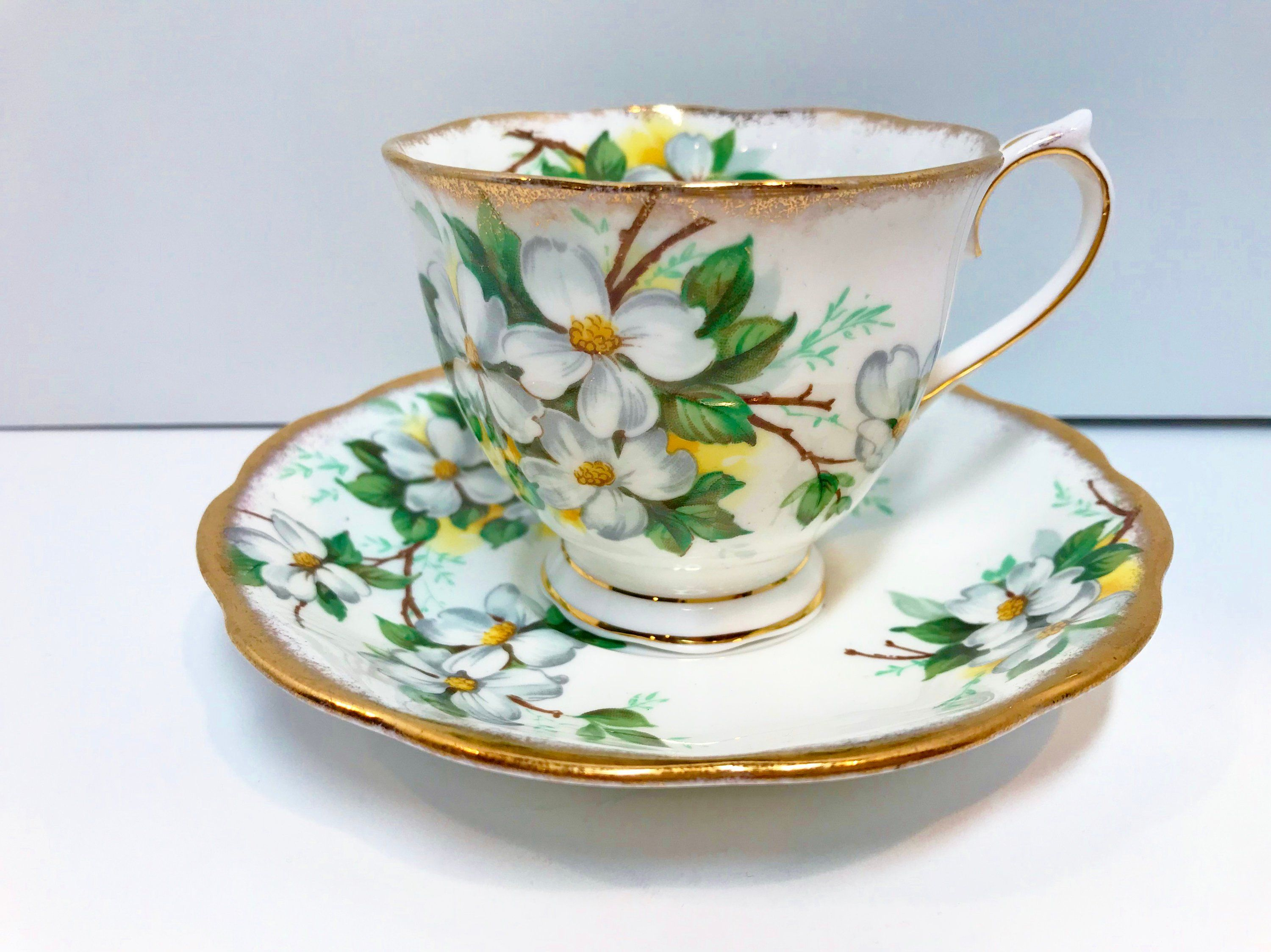White Dogwood by Royal Albert Tea Cup and Saucer, Antique Teacup, Antique Tea Cups Vintage, English Bone China Cups, Floral Cups #teacups