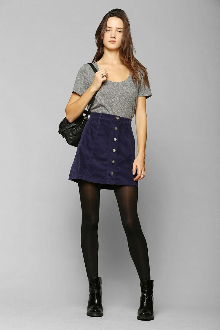 BDG Button-Front Corduroy A-Line Skirt #urbanoutfitters | Fashion ...