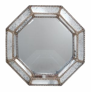 Uniquely Designed Studded/Wood Wall Mirror by Three Hands Corp